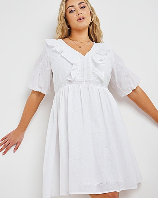 Simply Be White Broderie Frill Skater Dress