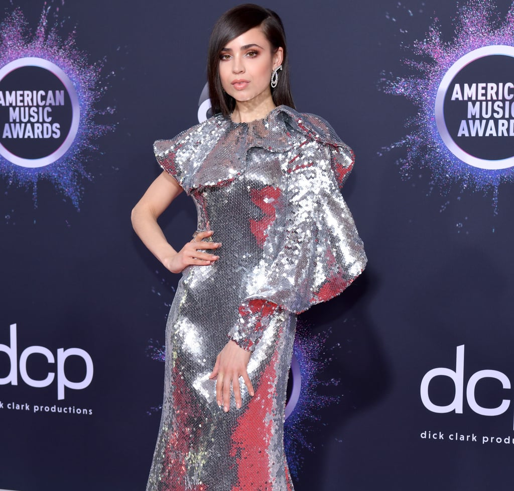 Sofia Carson's Silver Sequin One-Shoulder Dress at the AMAs