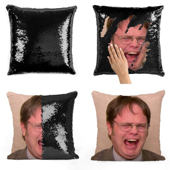 Dwight Schrute Laughing Sequin Pillow in Black