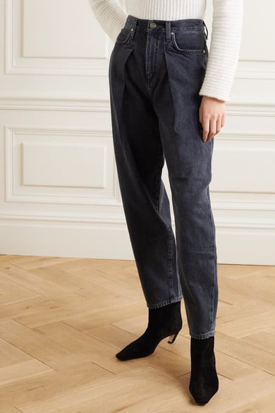 Goldsign The Pleat Curve Cropped High-Rise Tapered Jeans