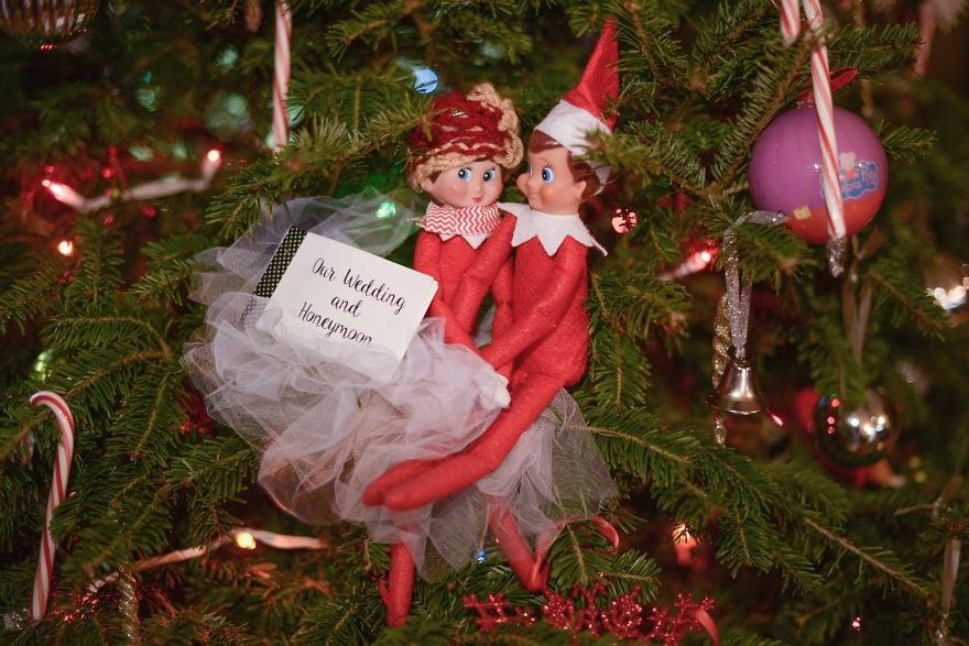 Mom Creates Elf on the Shelf Wedding and Honeymoon