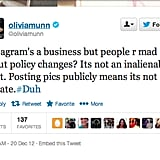 Actress Olivia Munn gave her two cents on the Instagram privacy brouhaha.