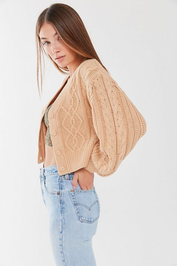Urban Outfitter Elena Cable Knit Cardigan Sweater