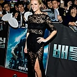 Brooklyn Decker struck a pose in black lace femmes d'armes.