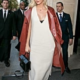 Karlie Kloss Layered a Red Trench Over Her White Dress While in Paris