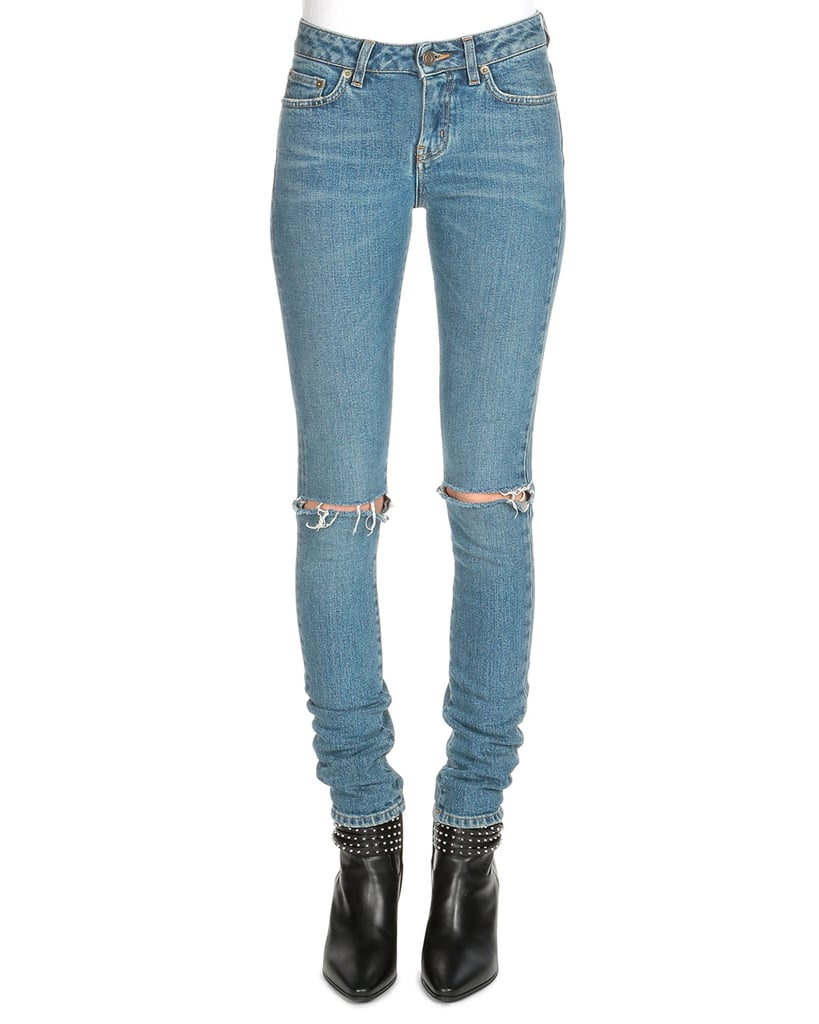 Saint Laurent Low-Rise Distressed Skinny Jeans ($750)