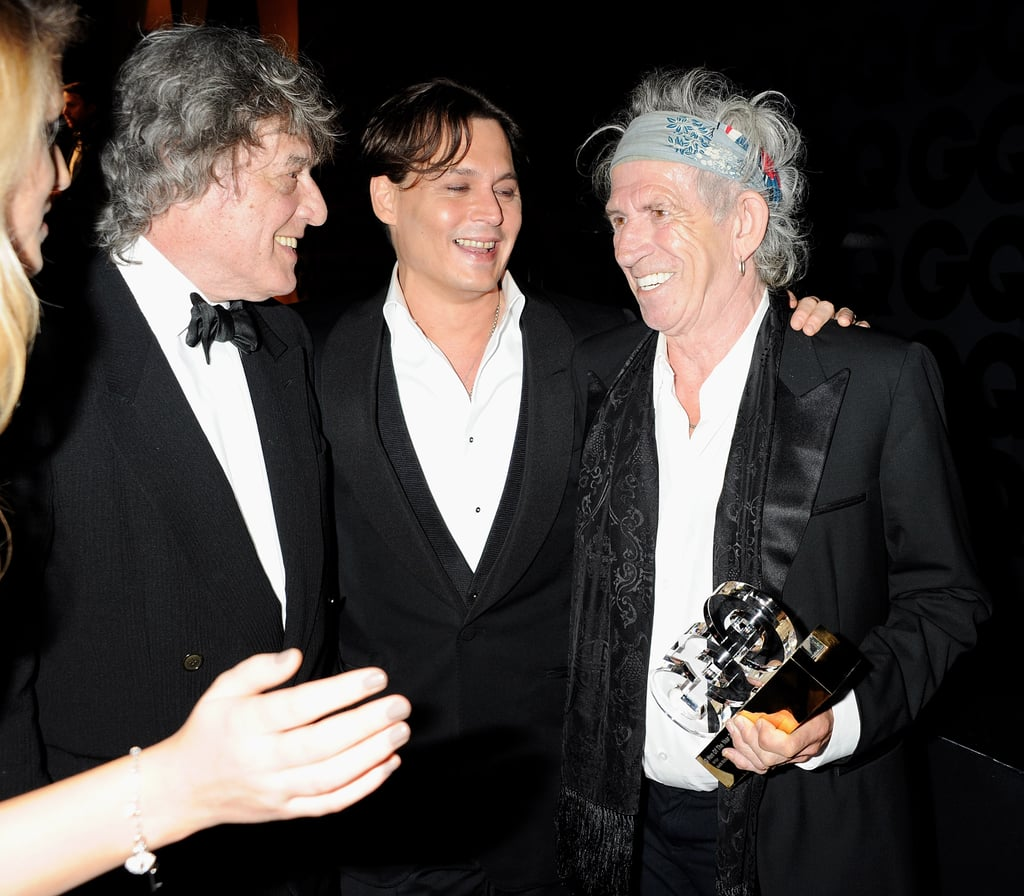 Johnny Depp with Keith Richards and Tom Stoppard.