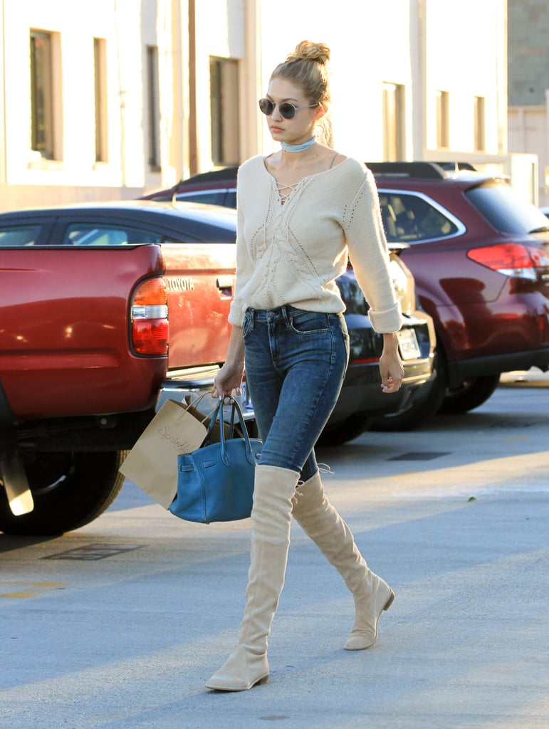 Gigi wearing her buff suede Lowland boots.