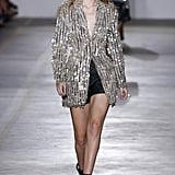 Gigi Working a Dazzling Blazer at Roberto Cavalli