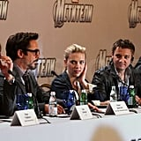 Chris Hemsworth, Scarlett Johansson, and the rest of The Avengers gang answered questions and talked about their film.