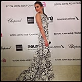Nina Dobrev walked the red carpet in front of us at Elton John's viewing party. Source: Instagram user popsugar