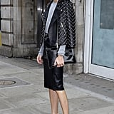 Olivia's feminine pumps and studded moto jacket offered the perfect play between downtown and uptown style.