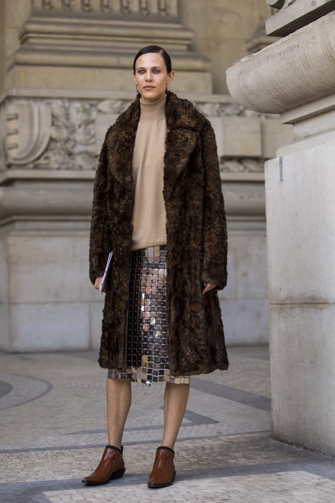 Style a Sequinned Skirt With a Fuzzy Coat