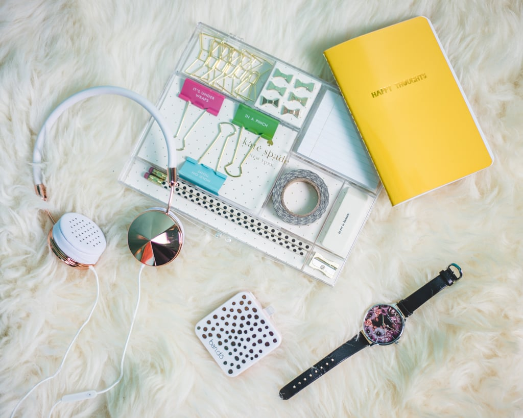 """In addition, a cute supply kit, a fun battery pack, and chic rose gold headphones will help her get in the zone.    Shop Gifts For """"the Creative"""":    Willamette for the Weekend Scarf   Wild About These Leggings   Adorable as Planned Office Supply Kit, by Kate Spade New York   You Heard the Glam Headphones in Rose Gold   Really Spot my Back Battery Pack"""