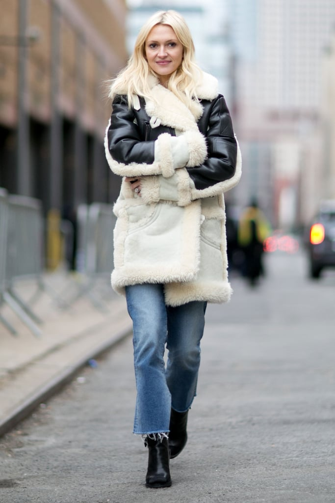 With a Shearling Coat and Black Booties