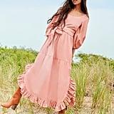 Enid Ruffle Dress in Blush ($350)