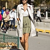 High-waisted shorts are a chic alternative to a miniskirt.