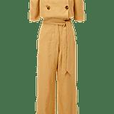 Lisa Marie Fernandez Diana Gold Linen Jumpsuit