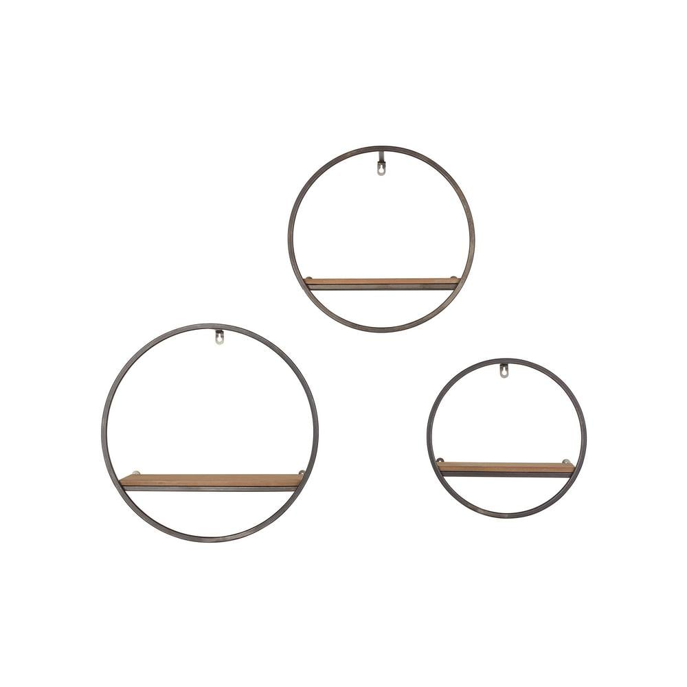 StyleWell Wood and Black Metal Wall-Mount Round Floating Shelf