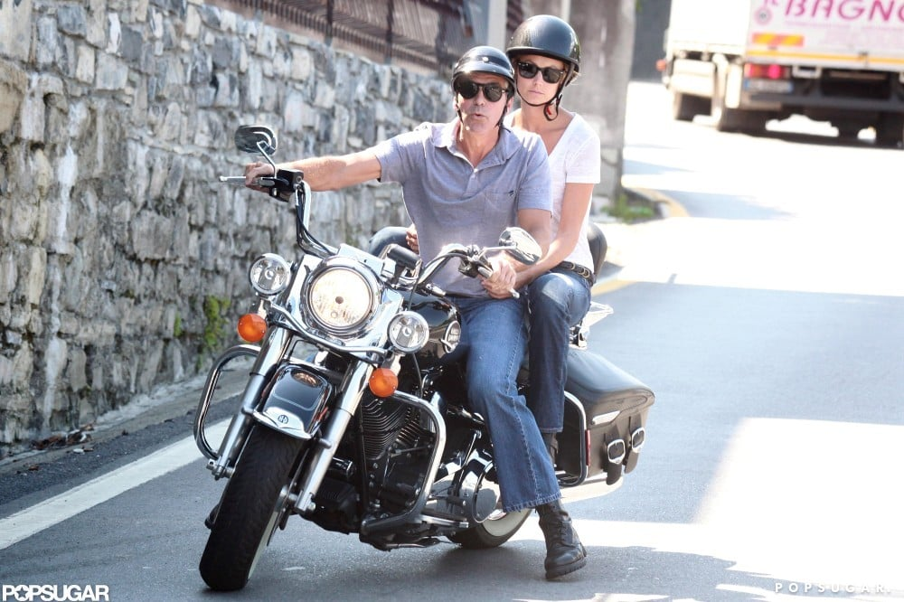 George Clooney went for a motorcycle ride with Stacy Keibler.