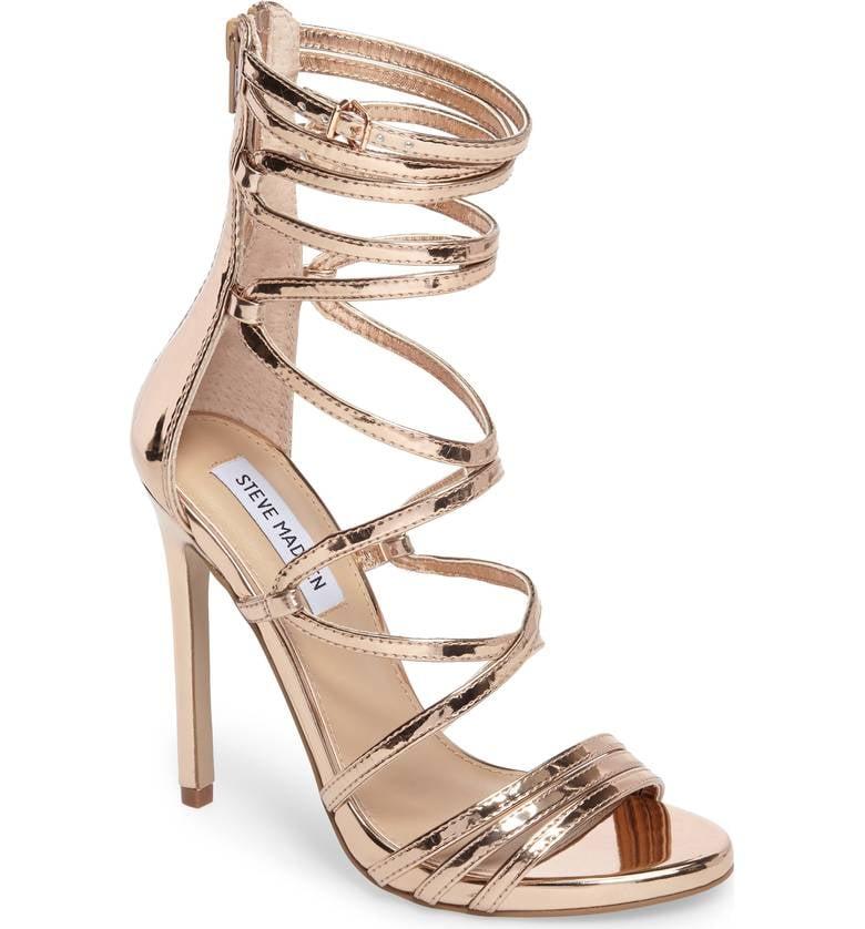 f0ebbda6406 Steve Madden Flaunt Gladiator Sandal | Anne Hathaway's Gold Gianvito ...
