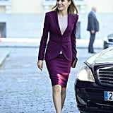 Queen Letizia Wearing a Maroon Skirt Suit