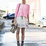 A neon knit gave a semisheer white dress a cool color story. Source: Le 21ème | Adam Katz Sinding