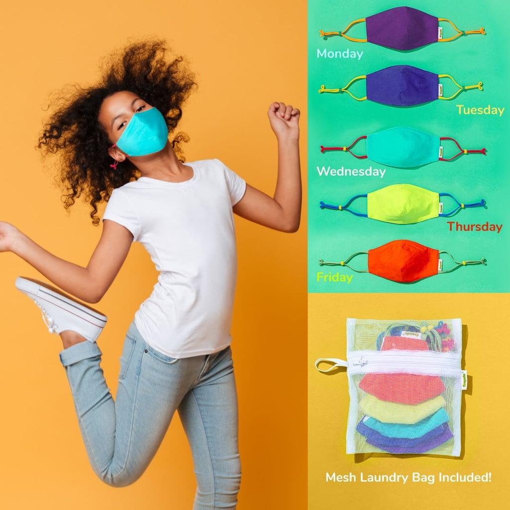 Crayola Kids Reusable Cloth Face Masks Set in Cool Colors