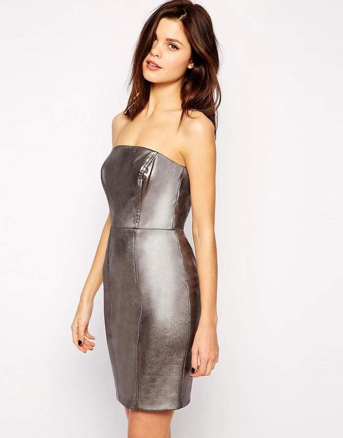 Warehouse Metallic Body Conscious Dress Ashley Graham Wearing