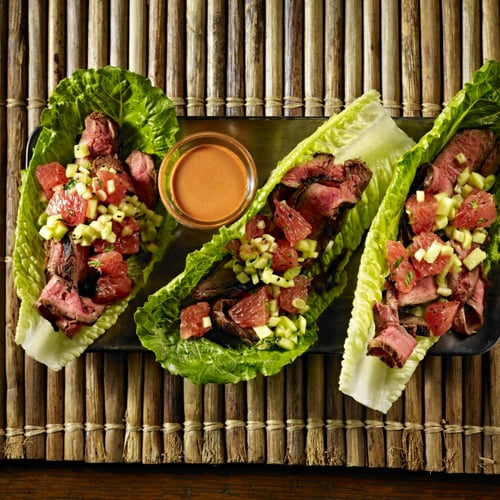 Tandoori Steak-Grapefruit Lettuce Wraps