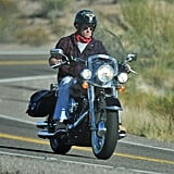 Prince Harry rode a rented motorcycle through the desert on Friday.