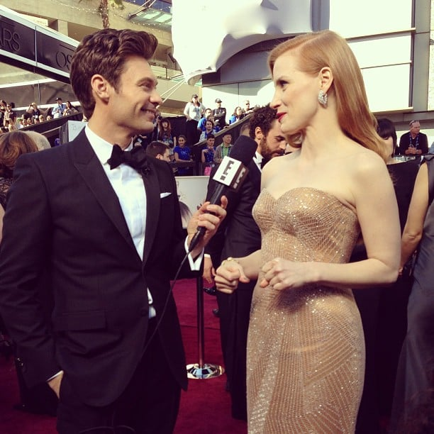 Ryan Seacrest chatted with best actress nominee Jessica Chastain on the red carpet. Source: Instagram user ryanseacrest