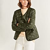 Mango Leather Quilted Jacket