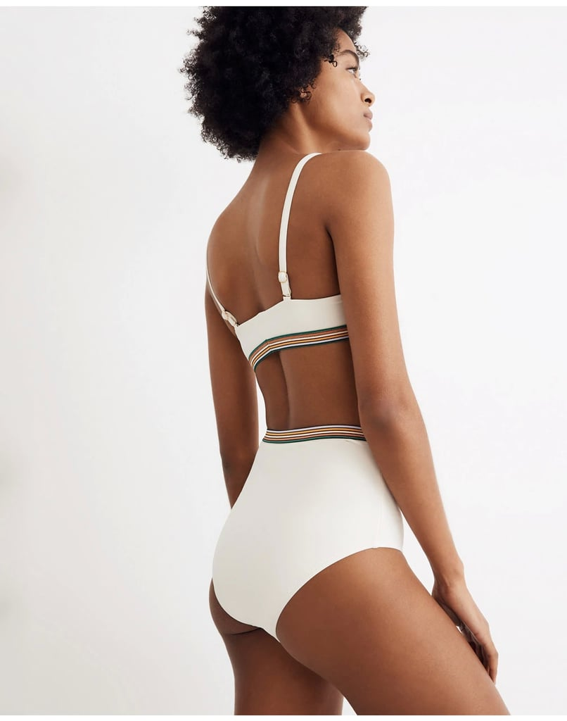 fb195f4c94 Madewell Second Wave Rainbow-Trimmed Retro High-Waisted Bikini Bottom