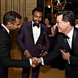 Aziz Ansari, Donald Glover, and Stephen Colbert
