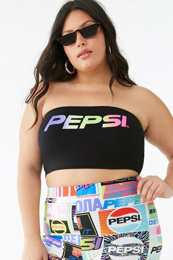 Plus Size Pepsi Graphic Tube Top and Print Biker Shorts