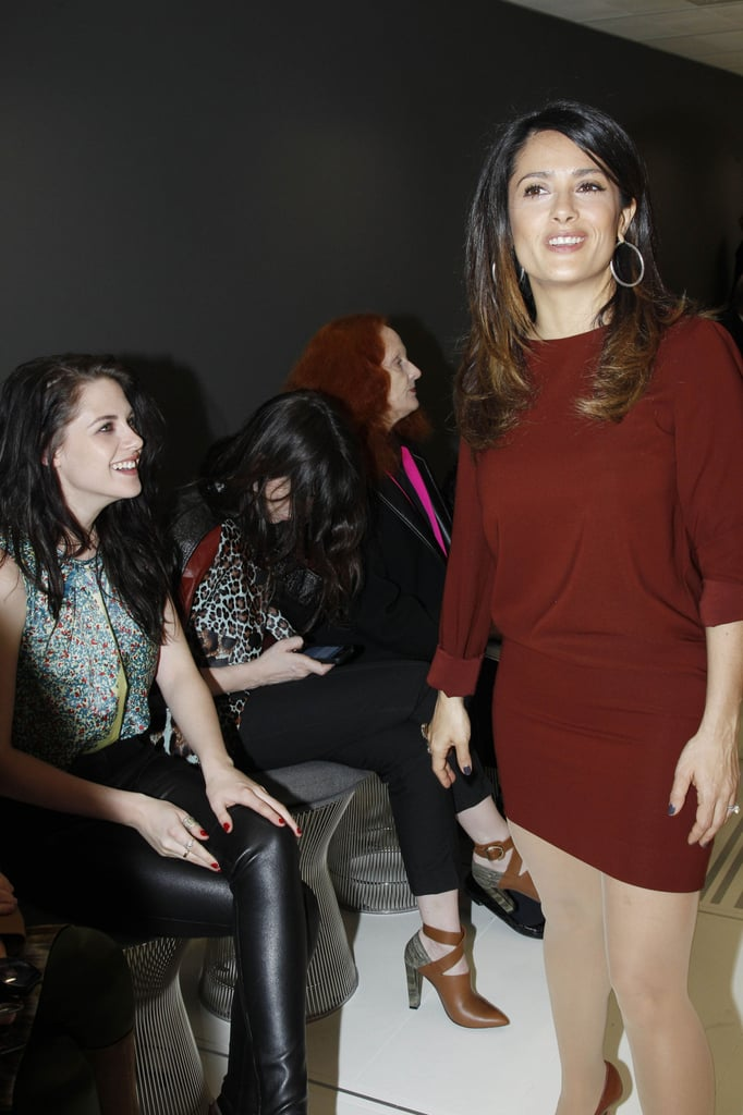 Kristen Stewart had a laugh while Salma Hayek showed off her short sweater dress.
