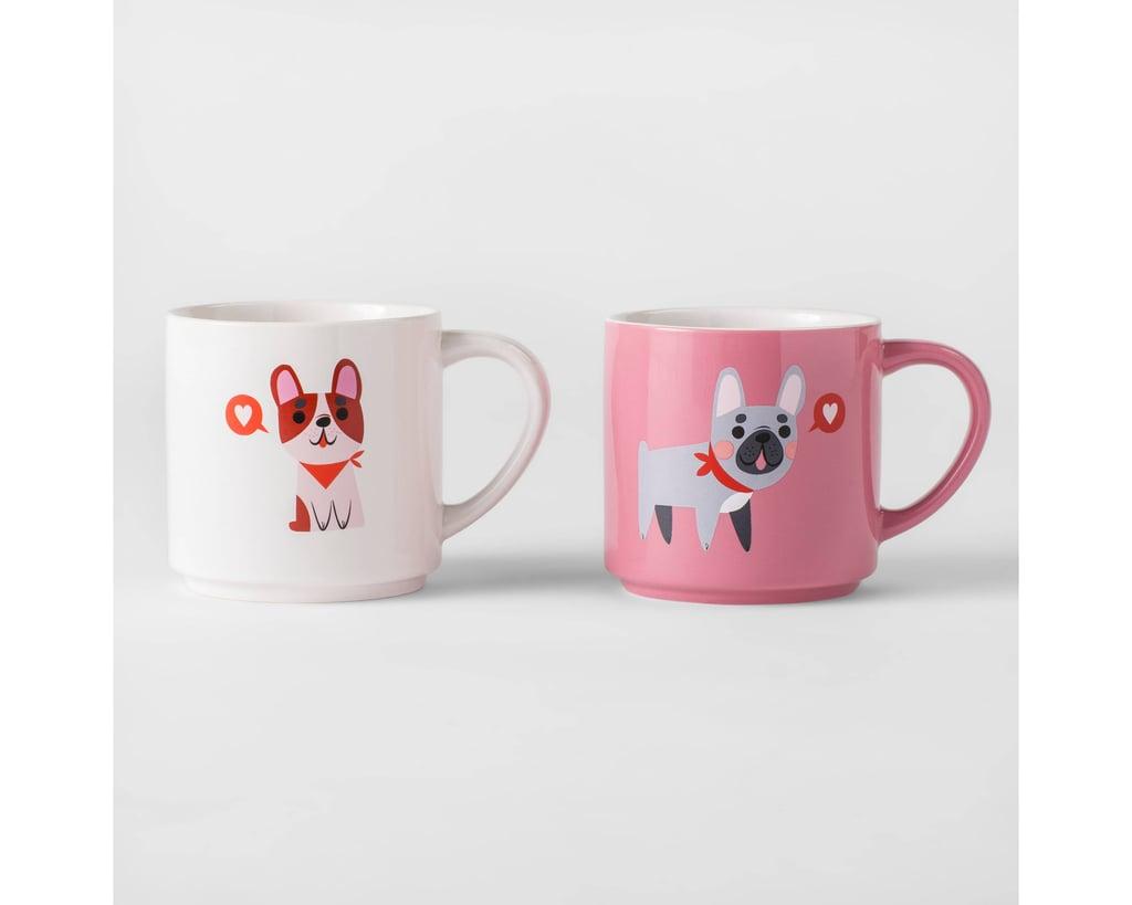 valentine dogs glazed stoneware mugs set of 2
