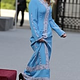She Played Up This Embellished Blue Gown With Classic Pumps