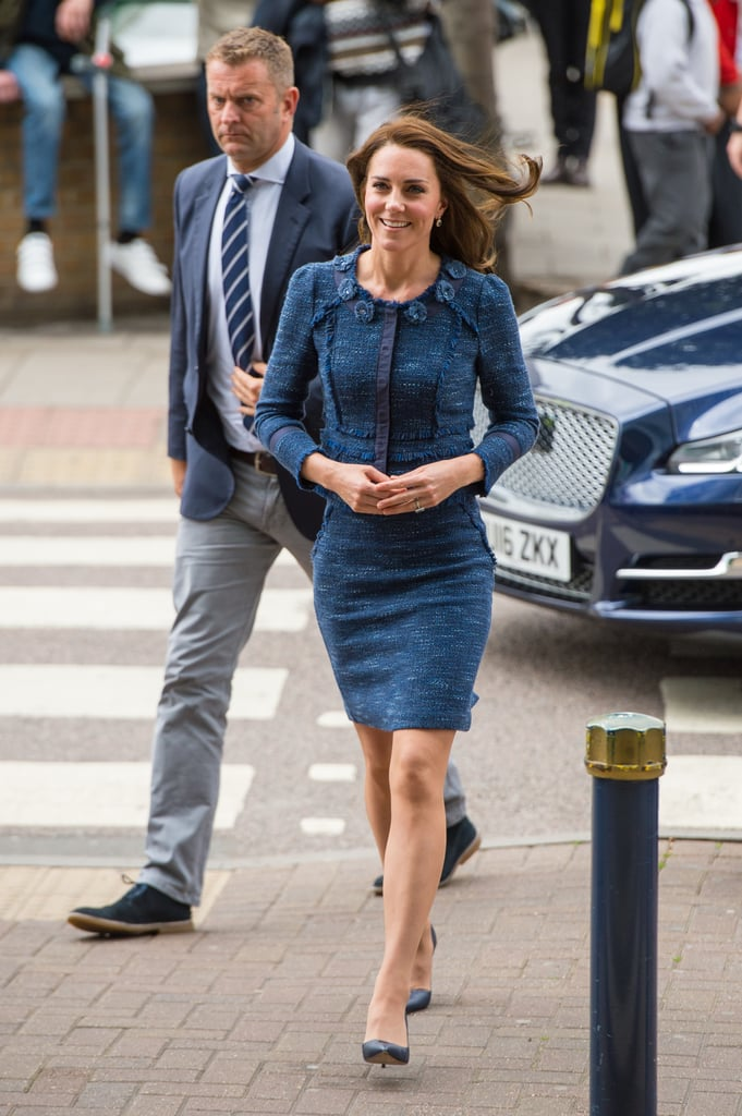 If there's one outfit Kate Middleton can trust, it's her Rebecca Taylor tweed suit. On Monday, the Duchess of Cambridge arrived to King's College Hospital to meet staff and patients affected by the London terrorist attacks. It seemed fashion was the last thing on Kate's mind as she shook hands and smiled at the hospital staff in the designer two-piece she's worn several times. The simple outfit set the right tone for Kate's rather serious visit thanks to its subdued navy color. The last time Kate wore these easy separates, she was visiting children in a London hospital. Scroll on for a closer look.      Related:                                                                                                           I Re-Created Kate Middleton's Most Iconic Looks — and, Yes, I Felt Like Royalty