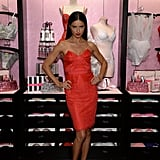 Adriana Lima at the Victoria's Secret Angels holiday celebration.