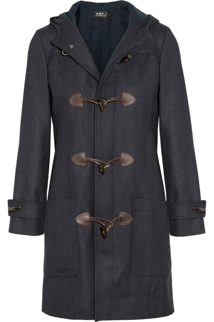 We love the dark navy hue and heavy wool herringbone of APC's Herringbone Wool Duffle Coat ($705).