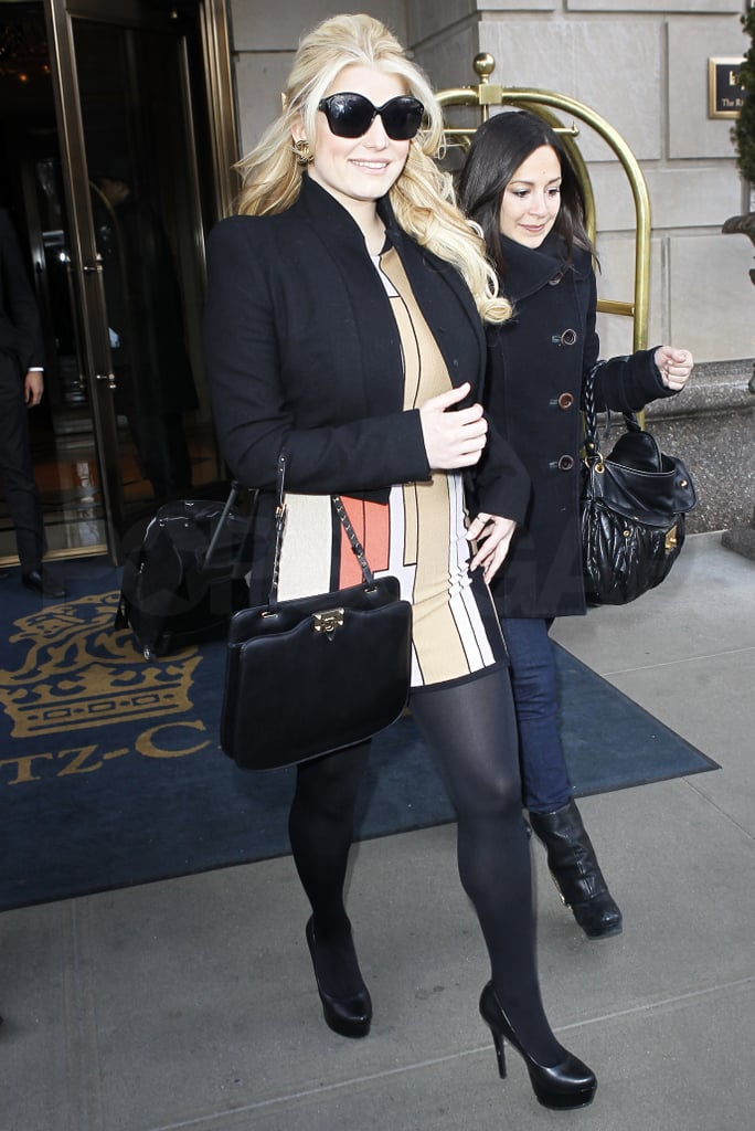 Jessica Simpson and her publicist pal Lauren Auslander stepped out of the Ritz Hotel in NYC this afternoon. The girls were off on a mission during Jessica's second day in the Big Apple, since she and fiancé Eric Johnson headed there from LA on Wednesday. Jessica and Eric's stay on the East Coast has coincided with rumors that Jessica is in the running for a big new job as a cohost on Simon Cowell's X Factor, though she laughed off the stories on her way home from dinner at the ABC Kitchen last night.