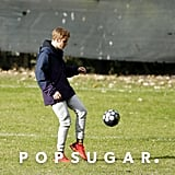 Justin Bieber Playing Soccer With Students in London