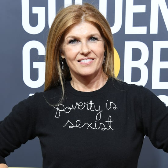 "Connie Britton ""Poverty Is Sexist"" Jumper at Golden Globes"