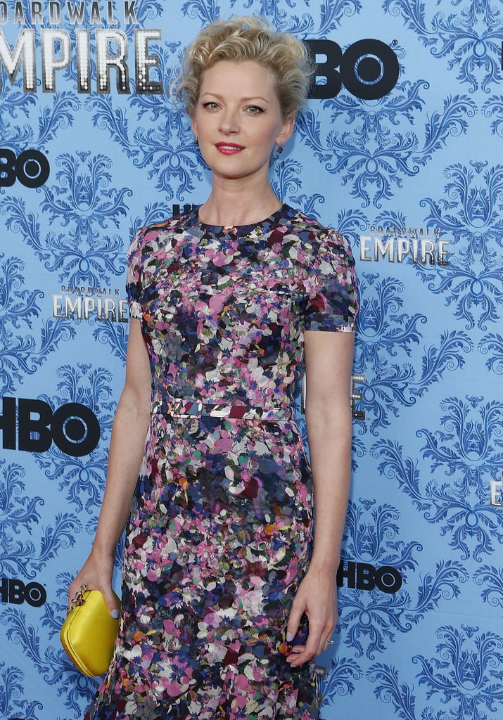 Gretchen Mol looked lovely in a floral frock and yellow clutch.