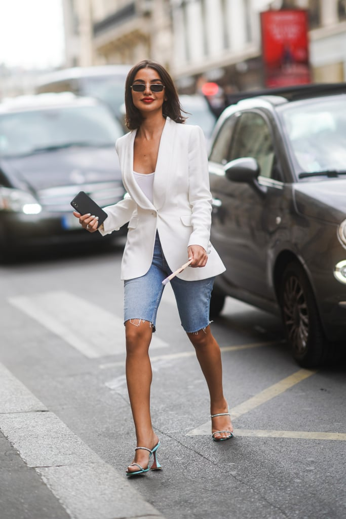 Pair Your Bermuda Shorts With a Sleek White Blazer and Bedazzled Heels