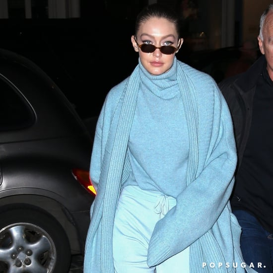 Gigi Hadid Wearing a Light Blue Coat