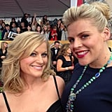 Busy Philipps also found Amy Poehler on the SAG red carpet. Source: Twitter user Busyphilipps25