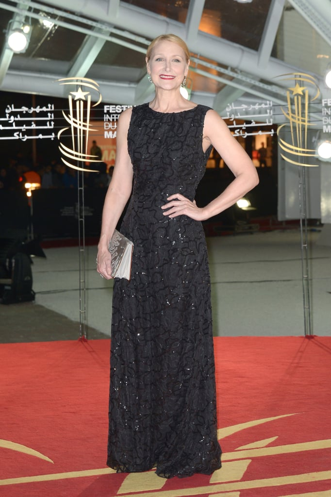 Patricia Clarkson wore a shimmering black Dior gown down the A Thousand Times Good Night red carpet in Marrakech.